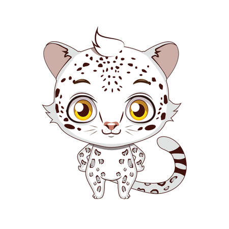 Cute stylized cartoon snow leopard illustration