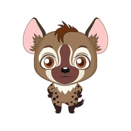 Illustration de hyène dessin animé stylisé mignon