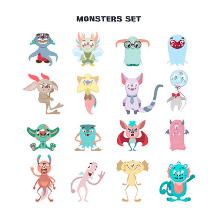 Collection of funny colorful imaginary monsters