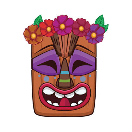 Happy tiki mask with floral crown