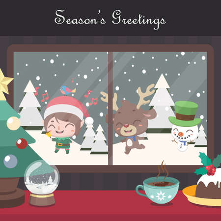 Christmas scene background with singing elf, reindeer and snowman