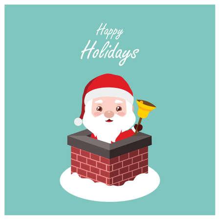 Greeting of Santa in a chimney
