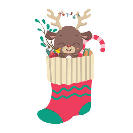 Cute reindeer and goodies in Christmas stocking Illustration