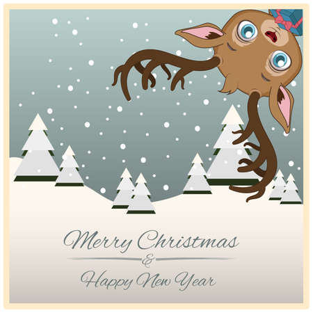 Christmas greeting with funny little reindeer Vettoriali