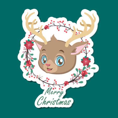 Cute festive Christmas reindeer sticker