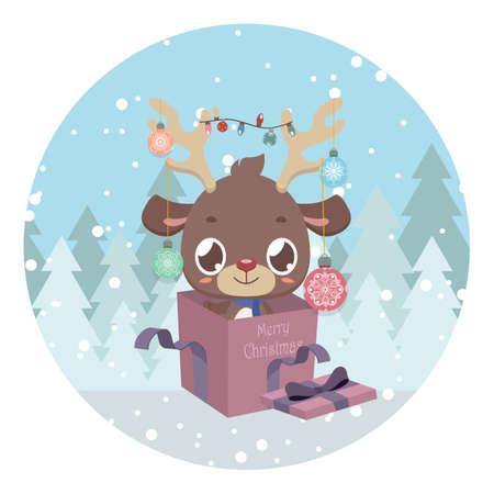Cute reindeer in present box