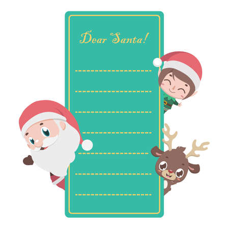 Letter to Santa with Christmas characters Illustration