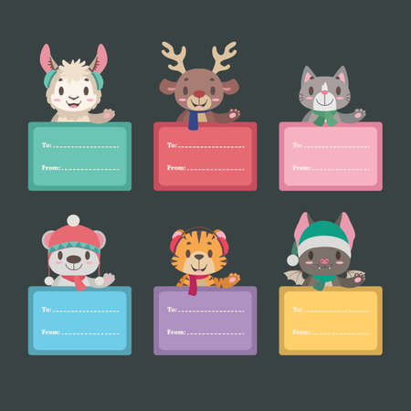Christmas present tags with cute animals Illustration