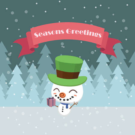 Greeting with a cute snowman Illustration
