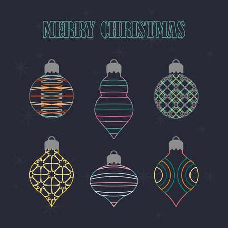 Wireframe Christmas ornament collection