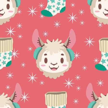 Seamless pattern with llama and Christmas stocking