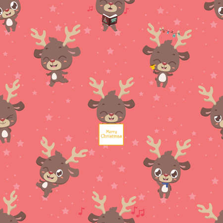 Seamless pattern background with cute little reindeer