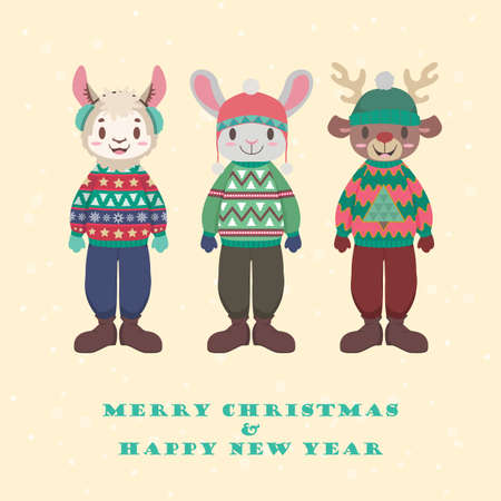 Collection of cute animals in ugly Christmas sweaters