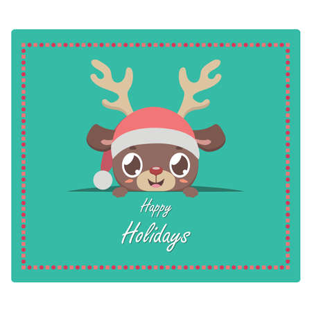 Christmas greeting with cute reindeer peeking out Illustration