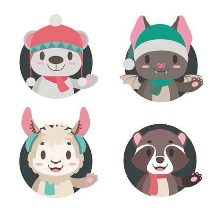 Collection of 4 cute animals in winter apparel Illustration