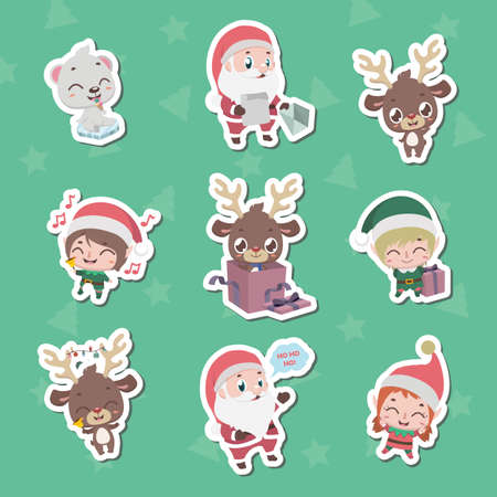 Collection of Christmas character stickers Illusztráció