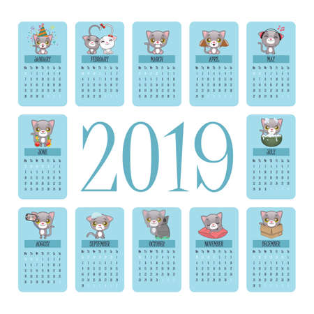 2019 Calendar with cute gray cat moments Illustration
