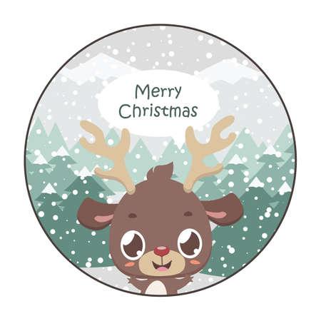 Cute reindeer Christmas greeting