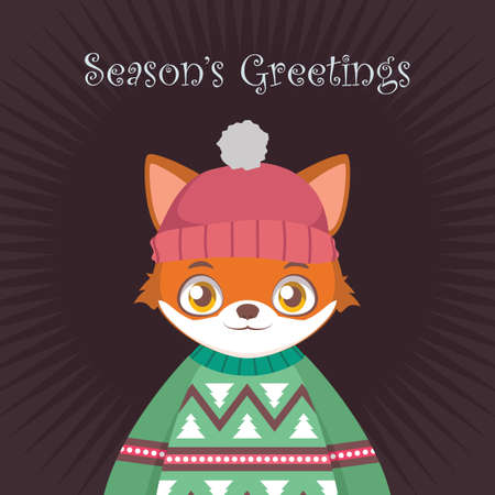 Fox portrait in ugly Christmas sweater