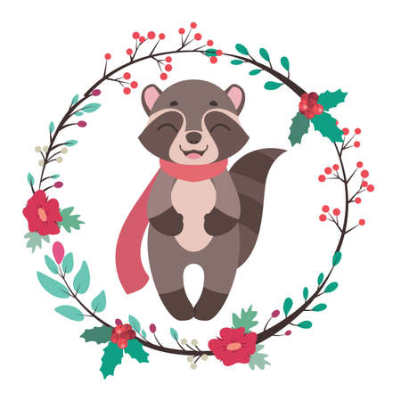 Jolly raccoon with floral frame illustration