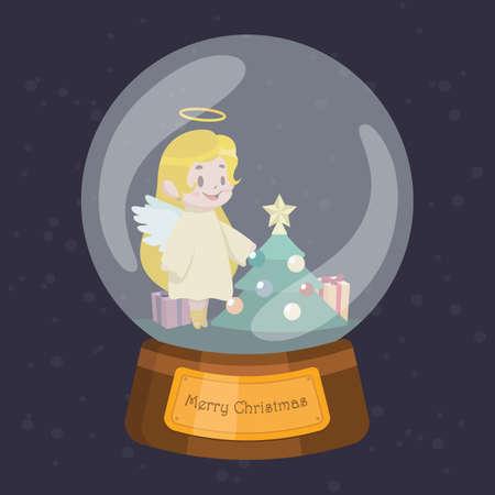 Christmas globe with cute angel Illustration