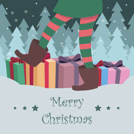 Christmas greeting with elf and presents