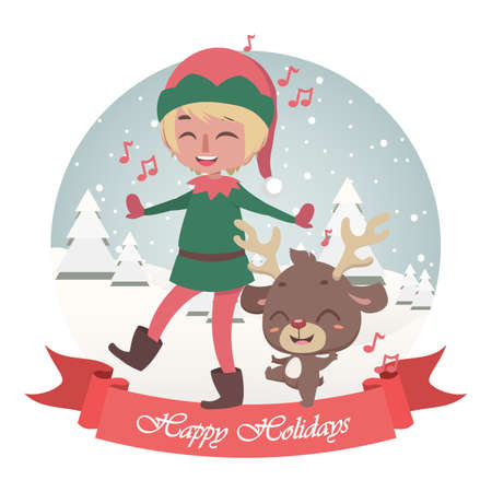 Cute Christmas greeting with singing jolly elf and reindeer