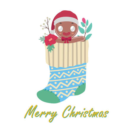 Greeting with gingerbread cookie man in stocking