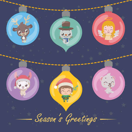 Six festive baubles with Christmas characters
