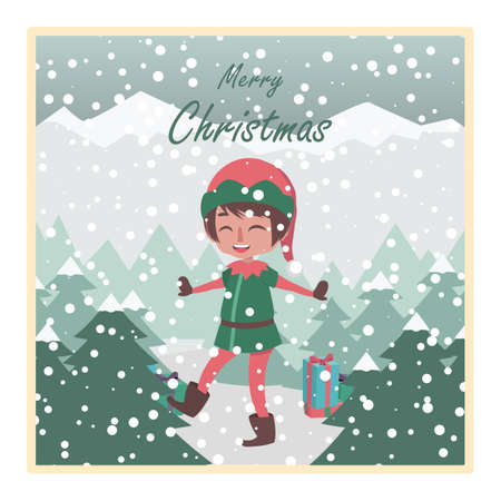 Greeting with happy elf and snowy background