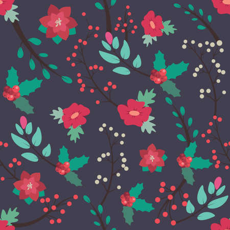 Seamless pattern background with festive flora