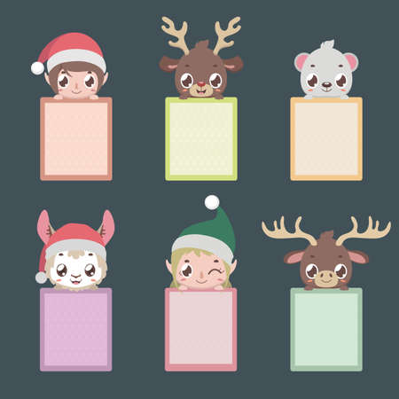 Set of six notepads with Christmas characters Illustration