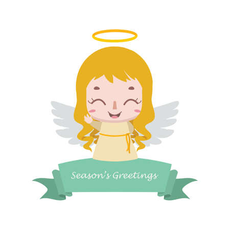 Christmas banner with little angel