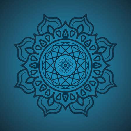 Simple mandala on teal background