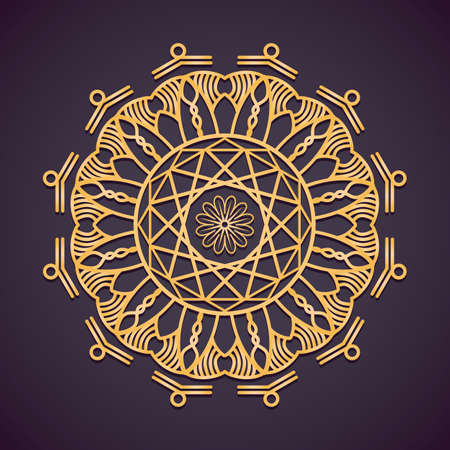 Golden circular mandala design