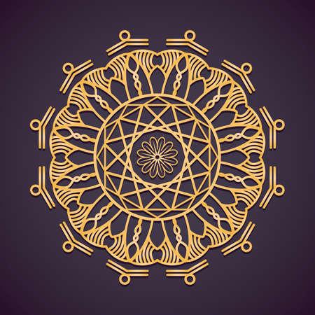 Golden circular mandala design