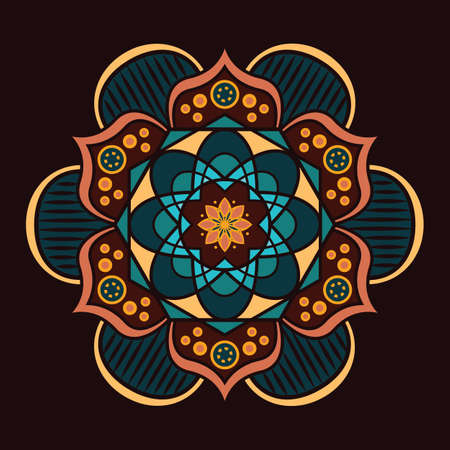 Multicolor mandala design with intricate pattern