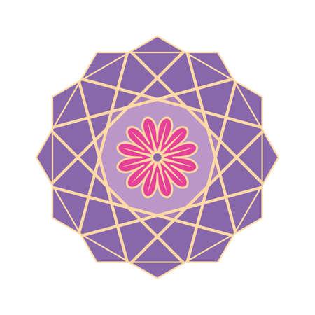 Purple colored geometrical mandala Ilustração