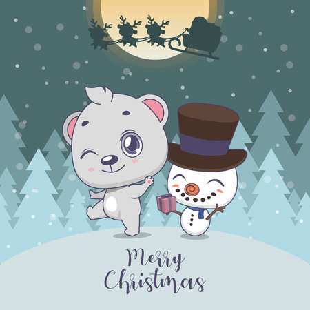 Cute Christmas greeting with a polar bear and snowman