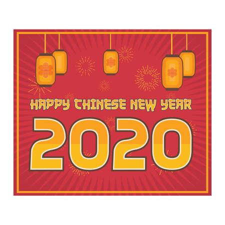 2020 Chinese New Year greeting on red background