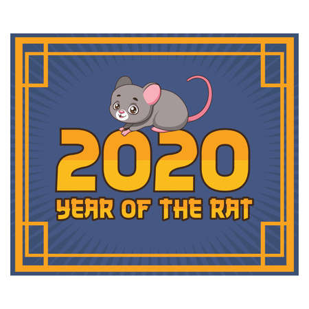 2020 Chinese New Year illustration with a cute rat