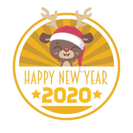 Happy New Year 2020 with a cute reindeer