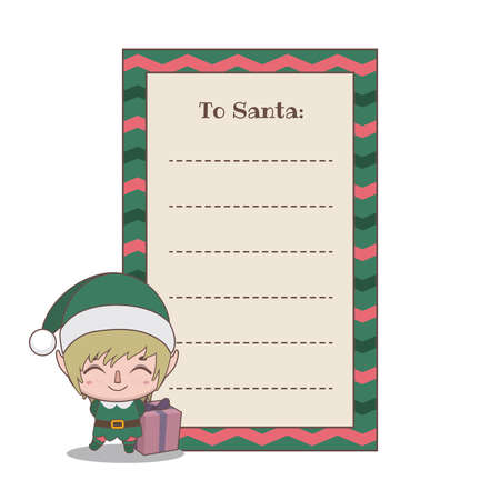Letter to Santa Claus with a cute little elf helper