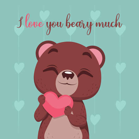 Illustration of a cute bear expressing love
