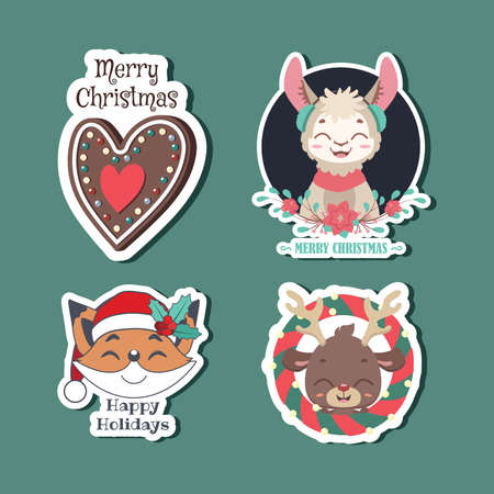 Set of various Christmas stickers