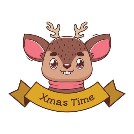 Christmas banner with a funny cartoon reindeer