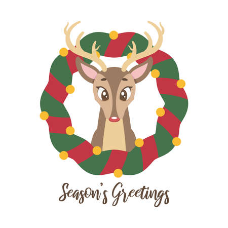 Christmas greeting with a cute and shy reindeer Illustration