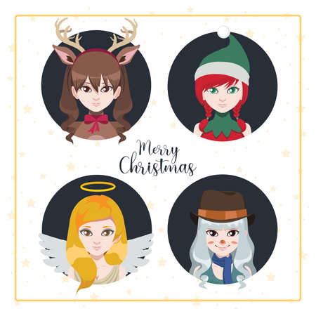 Women dressed as Christmas characters