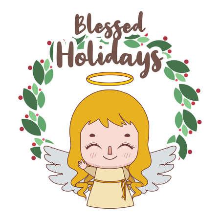 Christmas greeting with a joyful little angel Illustration