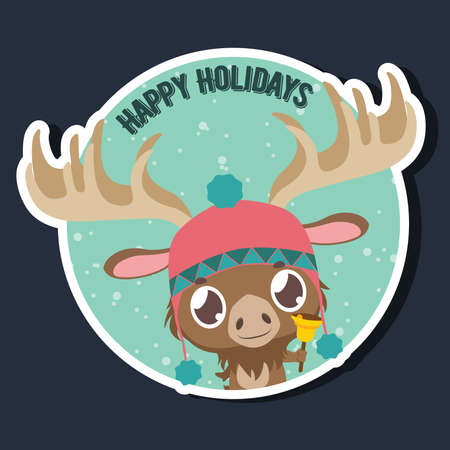 Happy Holidays greeting with a cute little moose